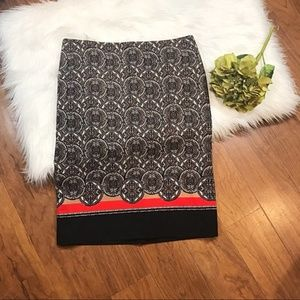 NWT Lord & Taylor Brown/Orange Print Pencil Skirt
